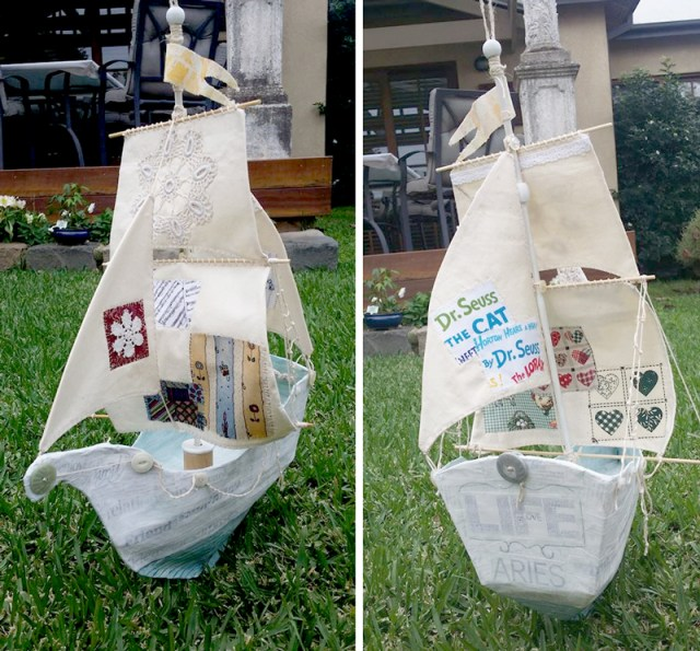 paper mache ship by wendy