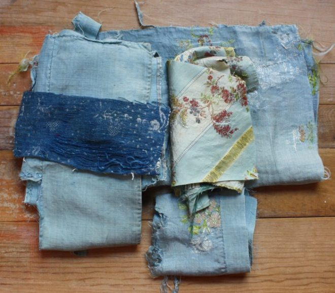 antique blue textiles