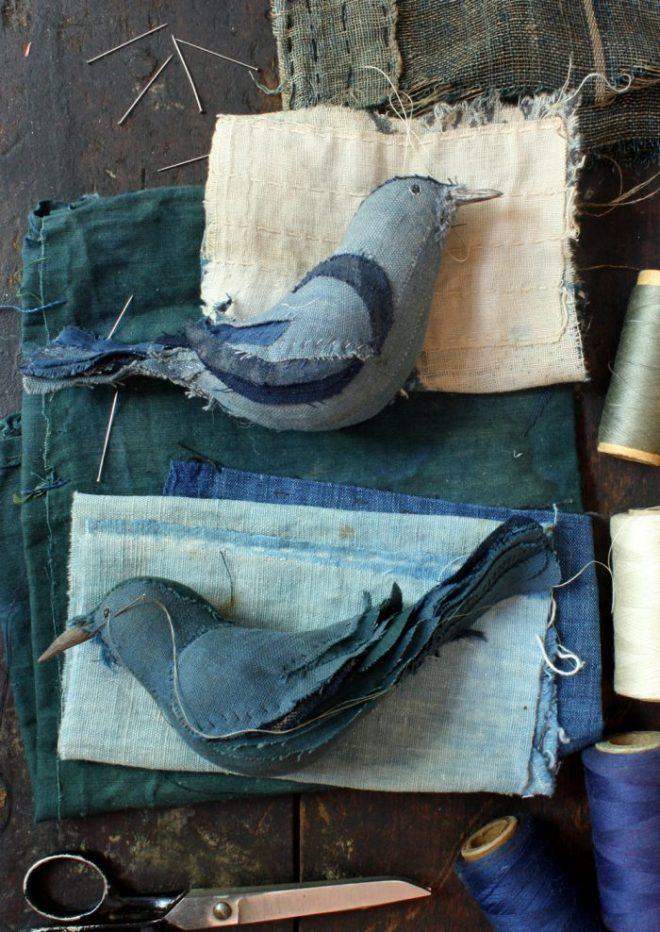 bird, hand stitched from japanese textiles