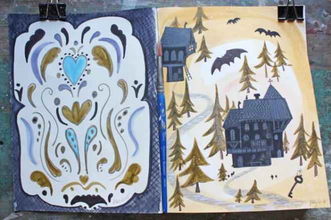 ann wood sketchbook :1/21 and 22 2018
