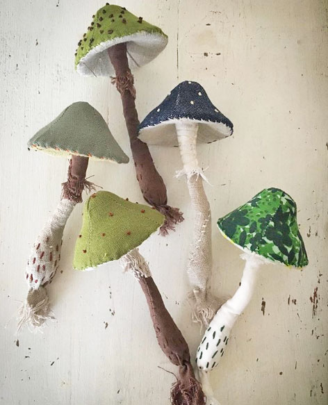 hand stitched toadstools