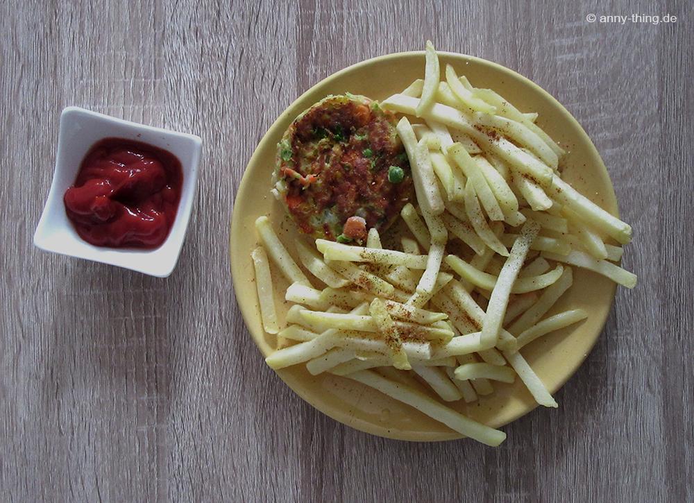 Pommes und Gemüseburger