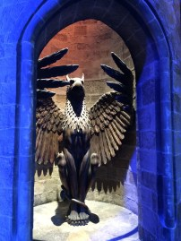 Dumbledore's office entrance. Apparently it wasn't until the 3rd film that they actually designed it to move up in a spiral; before it was just special effects and camera work.