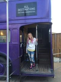 Posing on the Knightbus.