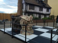 Part of the wizard's chess board played in the 1st film. Behind it is the house from Godric's Hollow.