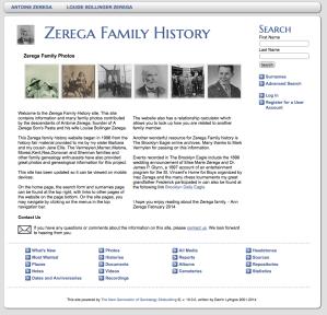 screenshot of Zerega Family History Site