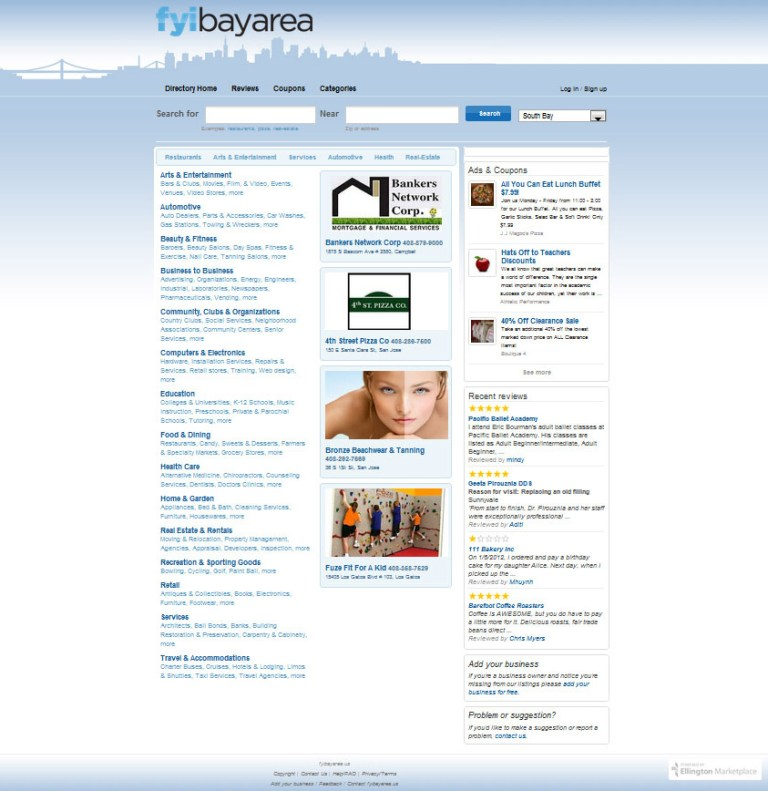 screenshot of FYI Bay Area Directory