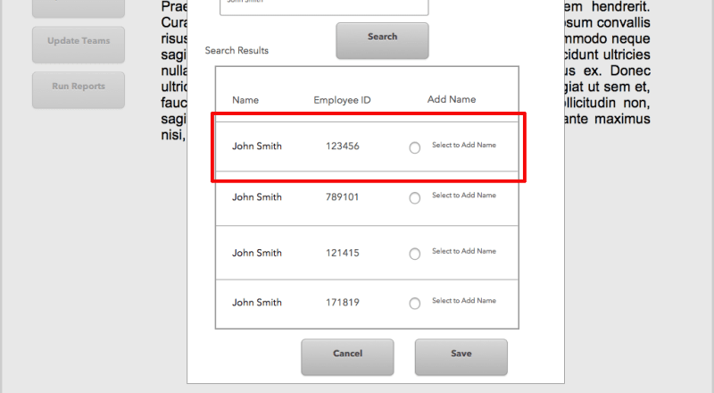screen of employee search