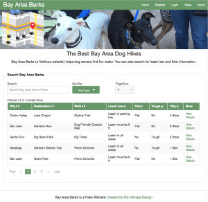 screenshot of Bay Area Barks Single Page Application