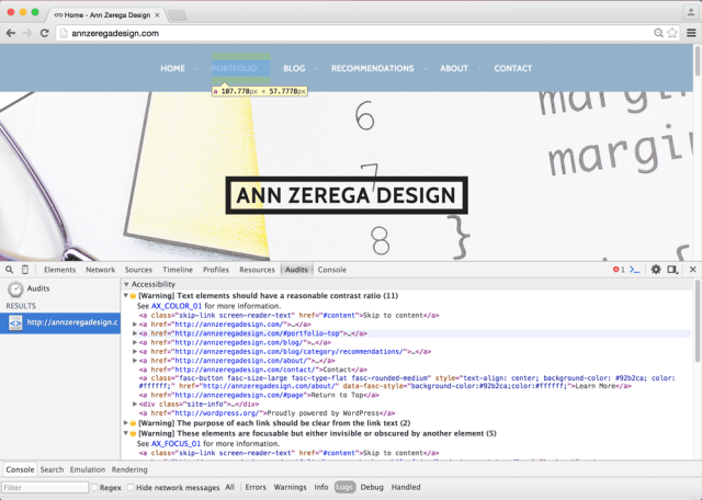 "photo of Ann Zerega ""Before"" Design Homepage showing Chrome Accessibility Audit Tool"