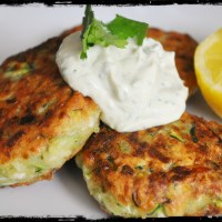 Zucchini Fritters with Vegan Greek-Style 'Yogurt' Dip