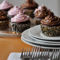 Potluck Dessert! Classic Chocolate Cupcakes with Smooth Ganache-Style and Lilac Frosting