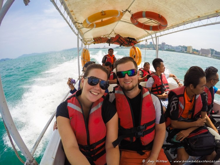 Taking a teeny tiny speed boat to Manukan Island.... before the motion sickness set in!