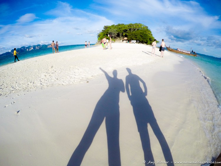 Making shadows on the beach at Tup Island.