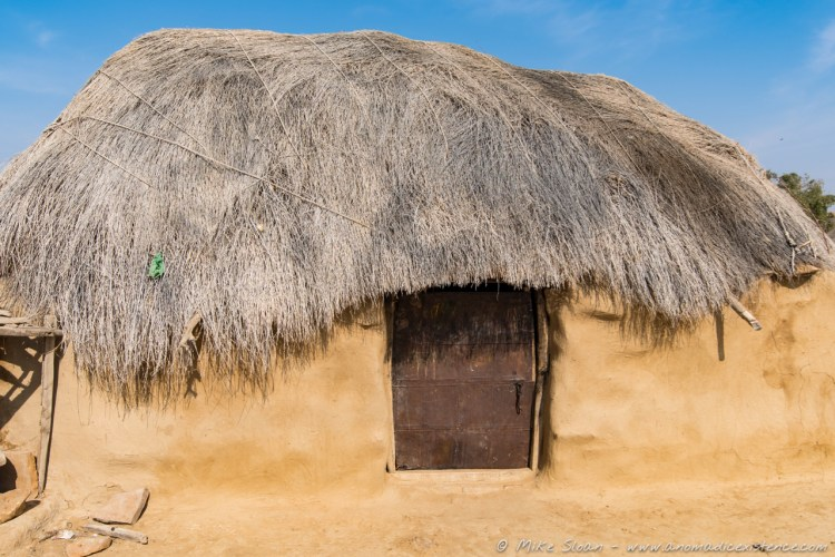 A traditional mud house used in the winter in the desert.