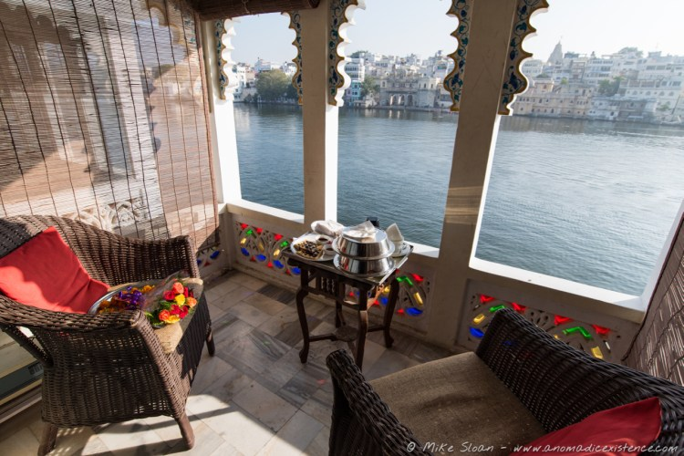 Breakfast on our balcony, overlooking Lake Pichola.