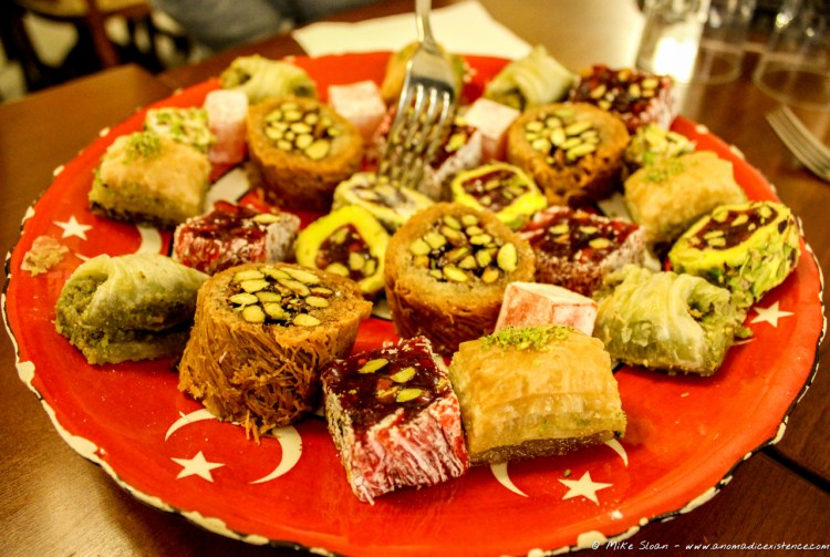 A selection of deliciously sweet morsels at a cafe in Istanbul.