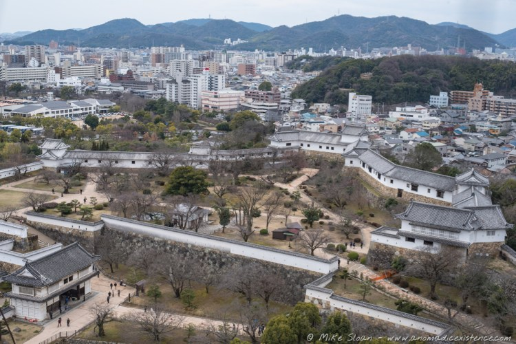 The expanse of the castle grounds and the city of Himeji.