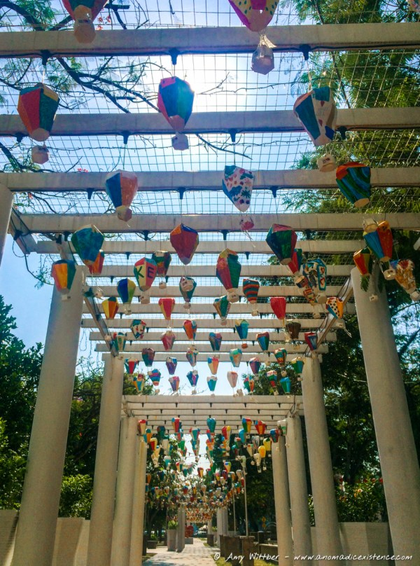 Paper lanterns made by school children and displayed as part of Chinese New Year festivities in the local park.