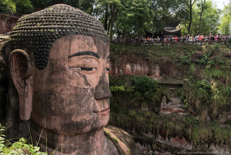 The Giant Buddha of Le Shan up close from the top viewpoint.