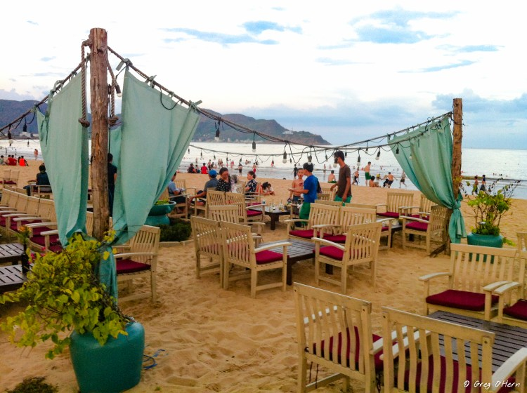 A beach bar on Quy Nhon beach. Be prepared for ice in your beer!