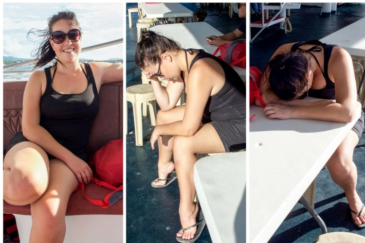 My post-parasailing progression as the adrenalin wore off and the motion sickness set in!