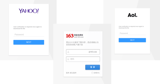 Faux login pages for Yahoo, AOL, and 163.com