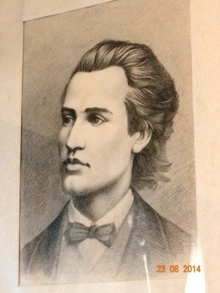 Mihai Eminescu, desen dupa portret, in casa memoriala a Veronicai Micle din Targu Neamt