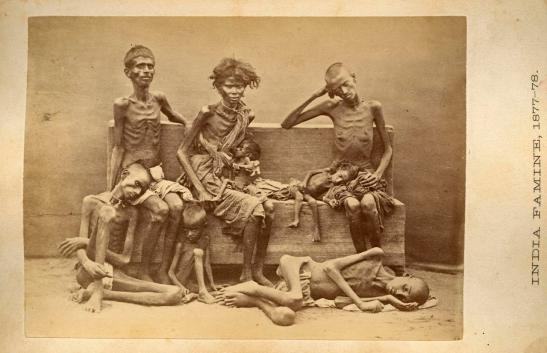 India Famine victims, 1877-78, cabinet card, ca. 1880. Sold by the Women's Missionary Society for the benefit of the Foreign Missionary Work of the Lutheran Church. LCA 16.6.3 box 8 f. 12 India - Photographs. ELCA Archives image. http://www.elca.org/archives