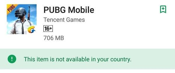 PUBG Play Store Not Available