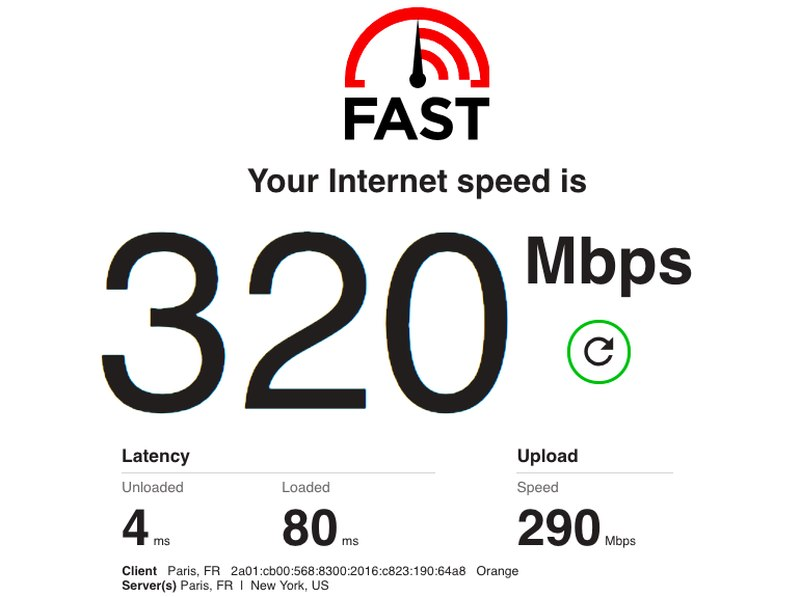 BulletVPN Speed Test 1