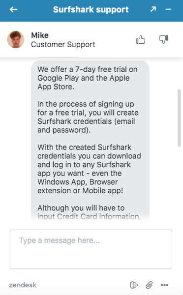 Surfshark Support for Free Trial