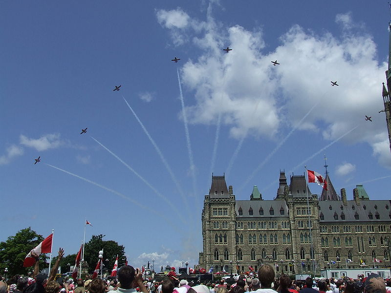 The Snowbirds Aerial Acrobatic Team performs at Canada Day celebrations in Ottawa