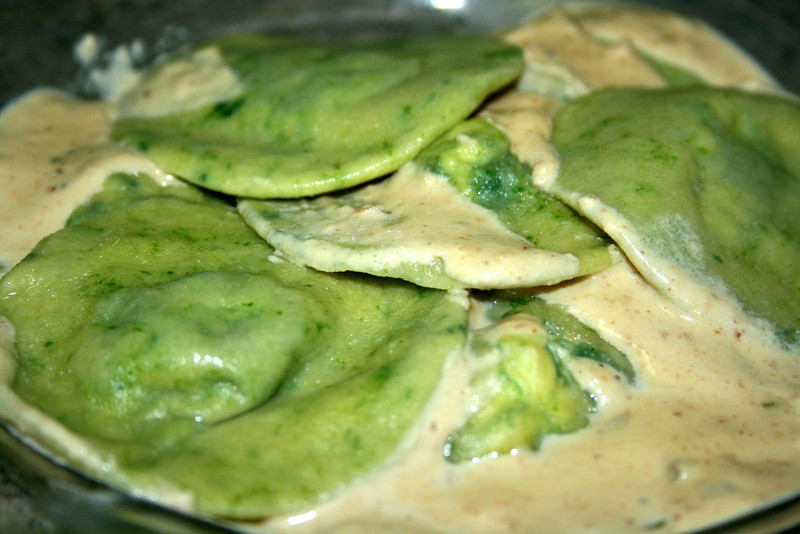Spinach and ricotta ravioli in a walnut cream sauce