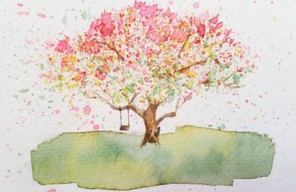 Watercolor Paint Splatter Tree Irene Park An Opus Per Diem