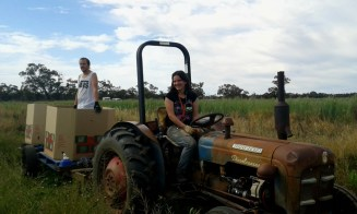 Tractor driving, farm work, Mildura, Australia
