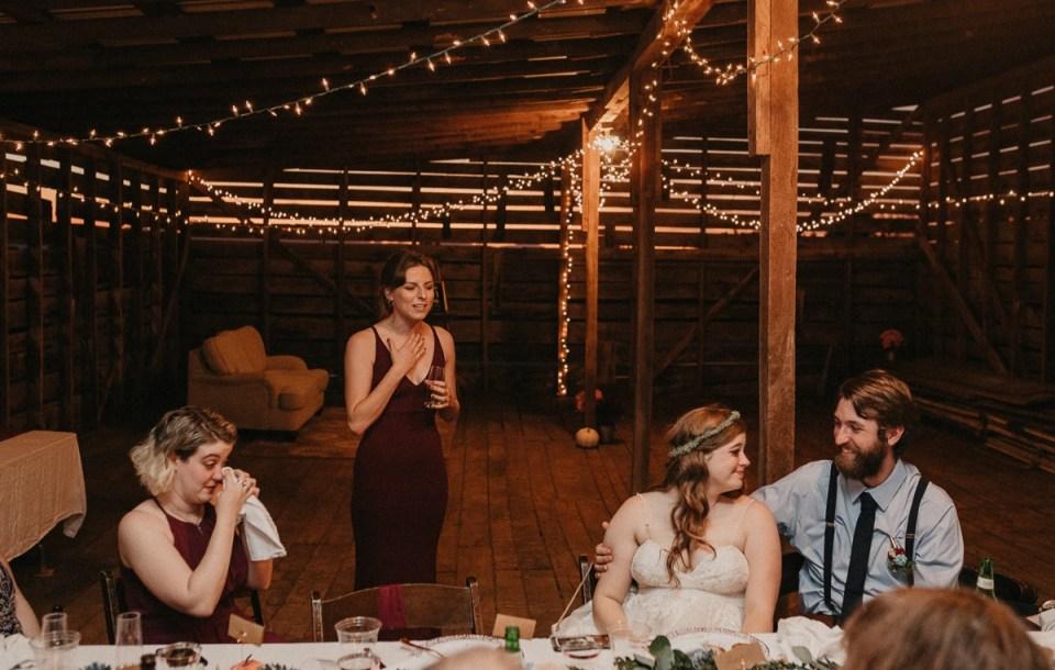 Bridesmaid giving her speech during an Asheville elopement.