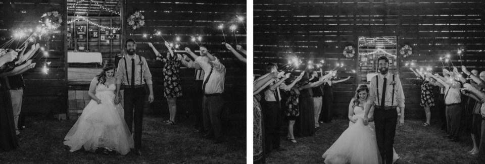 Sparkler exit during an Asheville elopement.