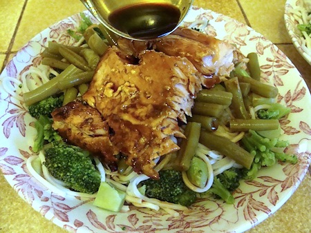 baked salmon on noodles