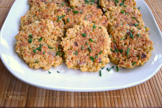 Parmesan Rice Cakes- an easy side dish using leftover rice.