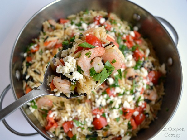 Greek Style Orzo and Shrimp