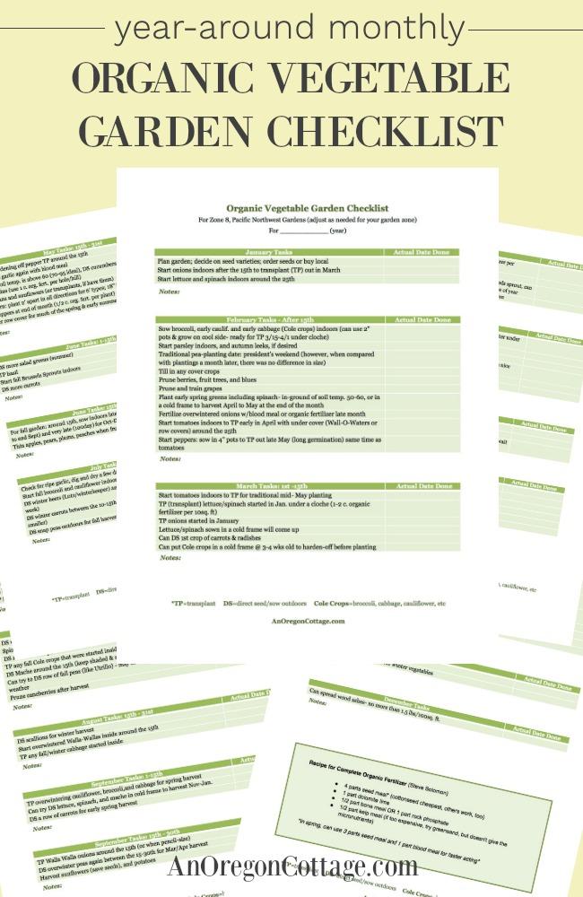 Printable year-around monthly organic vegetable garden checklist-AnOregonCottage.com