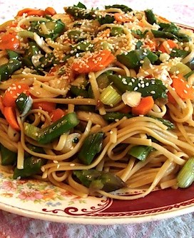 Spicy Noodle Salad {With Asparagus or Seasonal Vegetables}