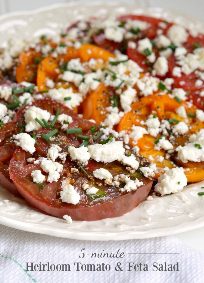 5-minute Heirloom Tomato-Feta Salad- simple, seasonal food at it's best.