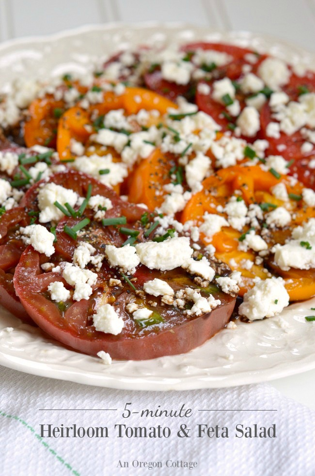 5-minute Heirloom Tomatoes and Feta Salad- simple, seasonal food at it's best.