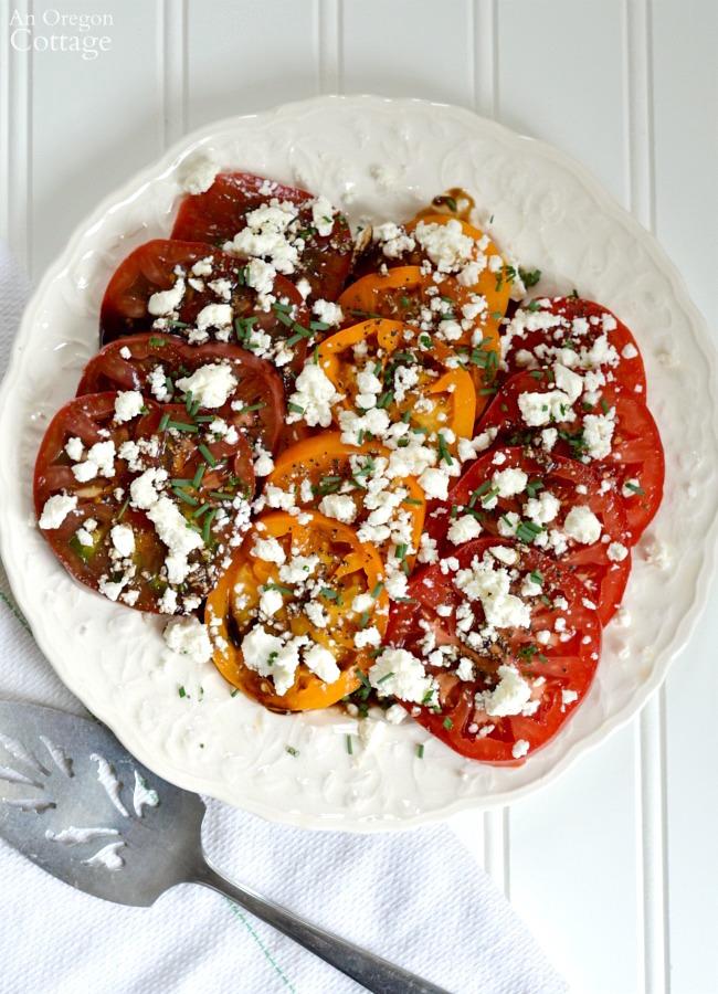 Simple Heirloom Tomatoes and Feta Salad at AnOregonCottage.com