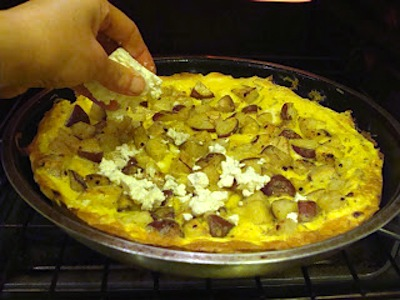 adding cheese to frittata