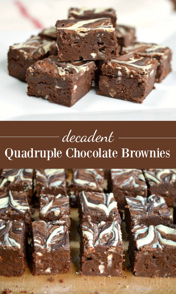 Quadruple Chocolate Brownies-made with milk, white, dark and unsweetened chocolates, this rich, decadent brownie recipe is perfect for special occasions and holiday cookie plates.