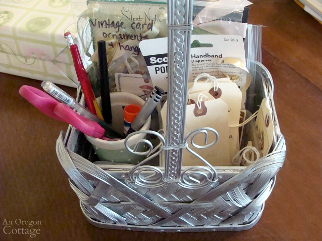 Gift Wrapping System-gift tag basket