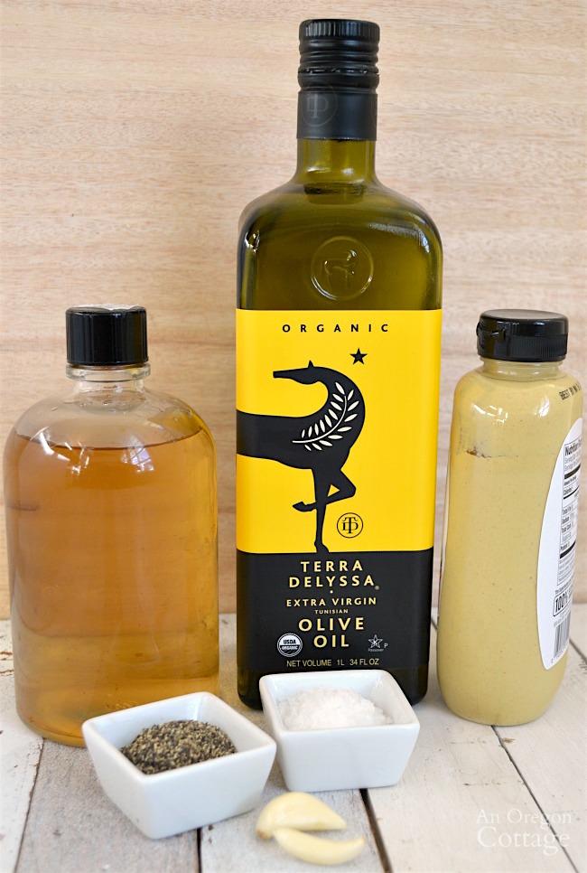 Basic homemade vinaigrette ingredients